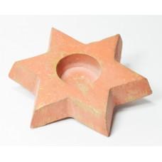 Svícen cihlová hvězdička s patinou